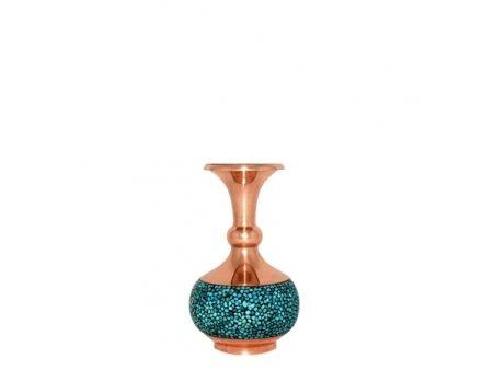گلدان شلغمی فیروزه کوب ۱۴ سانتی