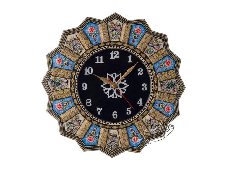 ساعت خاتم کاری گل و مرغ طرح جیر