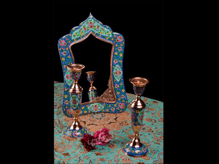 آینه و شمعدان مس و پرداز