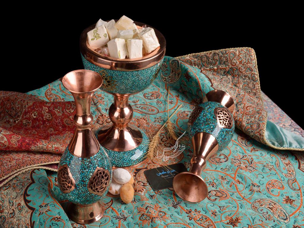 سرویس سنگاب و گلدان فیروزه کوبی