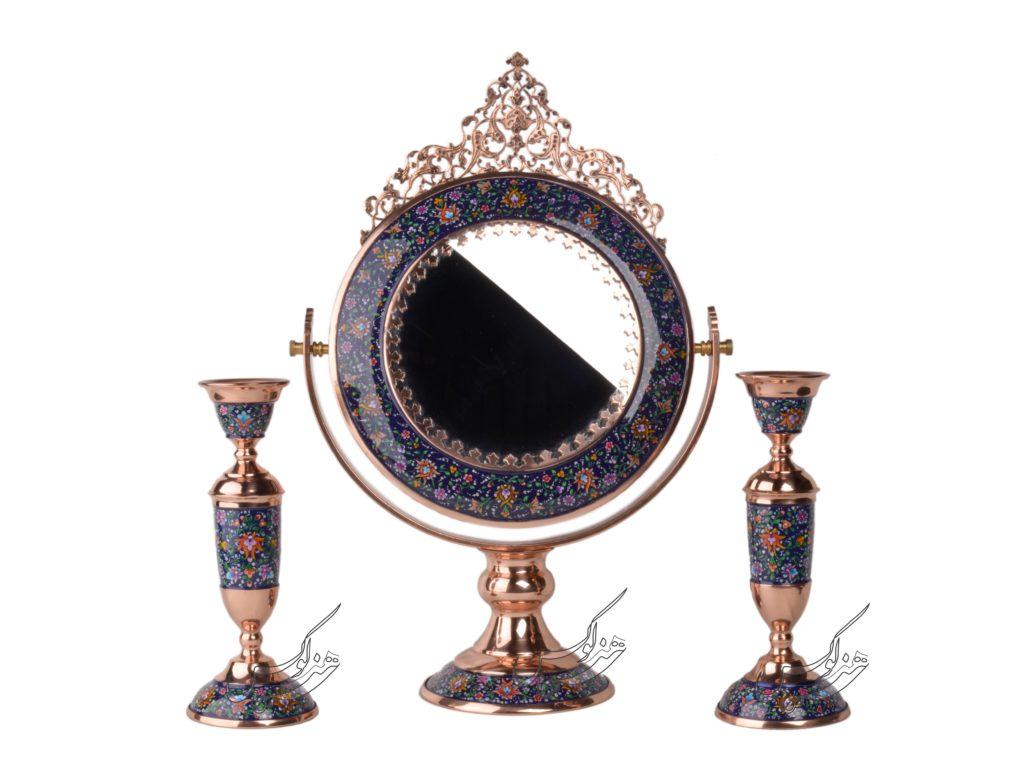 آینه و شمعدان میناکاری پرداز طرح گرد
