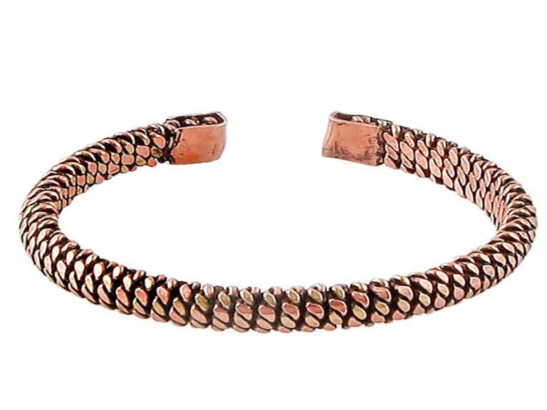 دستبند زنانه مسی مدل گندم