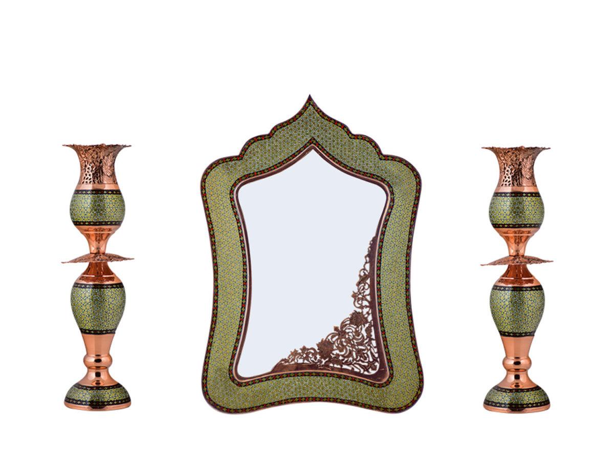آینه و شمعدان مس و خاتم
