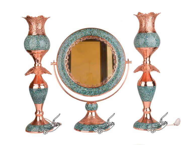آینه شمعدان گرد فیروزه کوبی