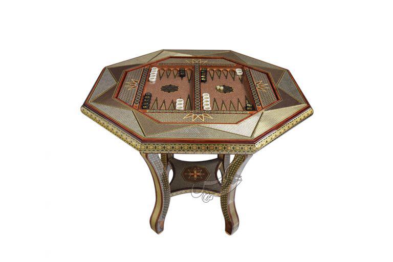 میز هشت ضلعی خاتمکاری جک دار آقاجانی