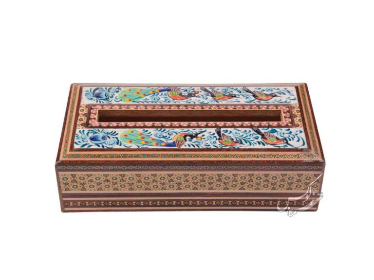 جعبه دستمال خاتم مدل گل و مرغ
