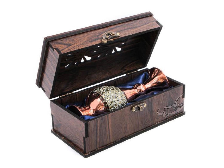 باکس گلدان مس و خاتم اعلا با جعبه
