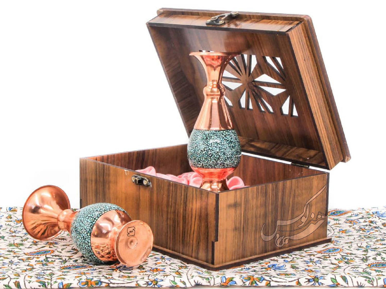 ست گلدان فیروزه کوبی با جعبه چوبی